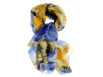 Шелковый платок с цветочным синим узором Oh La La