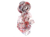 Шелковый платок с цветочным узором и серыми элементами Oh La La