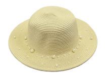 Бежевая пляжная шляпа с акриловыми жемчужинами Oh La La