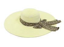 Пляжная шляпа, белая с леопардовым элементом Oh La La
