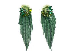 Длинные зеленые серьги с бахромой Oh La La